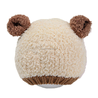 Wholesale Baby Boys&Girl Lovely Bear Beanies Winter Warm Cotton Knitting Children Caps Kids Patchwork Adjustable Hats 4 Colors