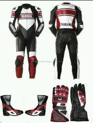 YAMAHA MOTORBIKE/MOTORCYCLE RACING LEATHER SUIT SHOES & GLOVES