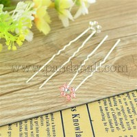 Bridal Party Wedding Decorative Hair Accessories Silver Color Iron Rhinestone Flower Hair Forks For Lady PHAR-S170-02