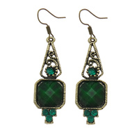 Fashion Statement Earring Zinc Alloy with Resin n earring hook antique silver color plated with rhinestone nick lead & d free 45