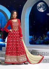 Stunning heavy embroidered red floral full length with full sleeves long anarakali salwar kameez