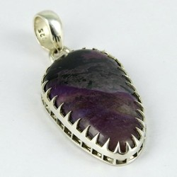 Frost Breeze Purple Charoite Claw Setting 925 Sterling Silver Pendant, Wholesale Silver Jewelry, Silver Jewelry 925