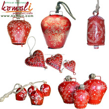 Red wholesale cow bells iron metal cowbell with leather strap or rope - custom sizes, design, color cowbell for decorations