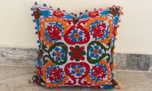 Indian Handmade Uzbek Suzani Cushion Cover 100% Cotton Fabric Pompom Pillow Cover India Manufacturer And Wholesaler