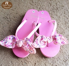 Pink bunny Ribbon Handmade Slippers 2015