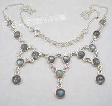 925 Pure Silver BLUE FLASH LABRADORITE Beautiful LARGE MADE IN INDIA Necklace