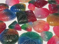 Multi Color Carved Jade stone Cabochons loose gemstones