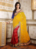 Trendy Embroidered Saree Red and Yellow Lace Patch Work Resham Saree DA607