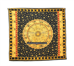 Yellow Black Muti Astrology Zodiac Tapestry Wall Mandla Art Tie Dye Beach Hanging Tapestries Hippie Manufacturer In India Jaipur