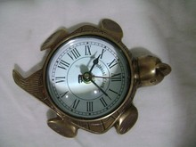 BRASS TURTLE ANTIQUE TABLE CLOCK