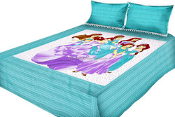 romantic bed cover/kids bedsheet printing circle 100% Cotton Reactive Printed Modern Design kids cotton bedsheet