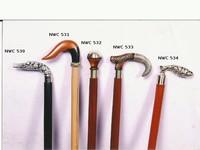 Brass handle wooden walking stick