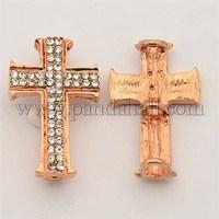 Cross Alloy Rhinestones Beads, Rose Gold, 26x16x6mm, Hole: 2mm RB-N015-01RG