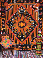 Burning Sun Planet & Star Tapestry Indian Wall Hanging Hippy Bohemian Tapestries tightly loomed fabric Home decor.