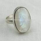Designer moonstone do arco-íris azul com queima de anel, jóias de prata esterlina, jóia de prata handmade