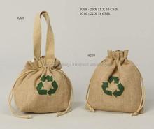 natural jute drawstring gift bag with handle