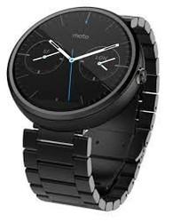 For New Motorola Moto 360 - Dark Metal, 23mm, Smart Watch