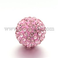 Round Rhinestone Clay Pave Bell Beads, with Brass Findings, No Hole, Light Rose, 17mm RB-D290-04