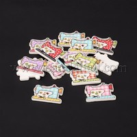 2-Hole Sewing Machine Printed Wooden Sewing Buttons, Mixed Color, 20x26x3mm, Hole: 1mm BUTT-M011-89