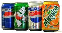 Pepsi, 7up, Mirinda, Dew, Canada Dry Ginger Ale