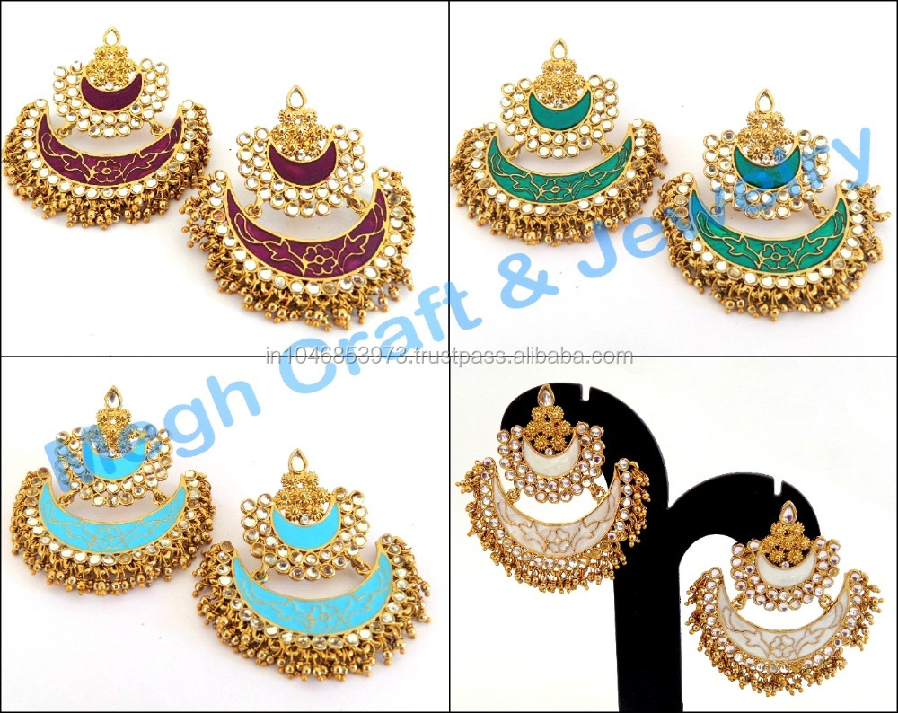 Indian Long Wedding Chandelier Kundan Earrings Pakistani
