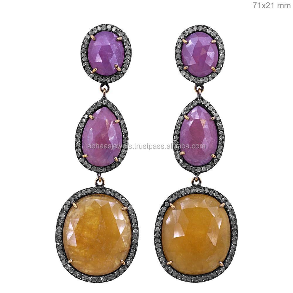 14 k oro rubí plata cuelga los pendientes largos de la joyería de piedras  preciosas joyas