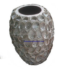 5807300815 Shell ceramic vase for home and garden decoration, Vietnamese handmade lacquer pot and planter