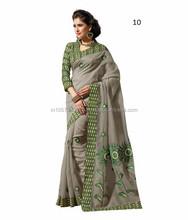 New Designer Festive Embroidery Cotton Saree In India