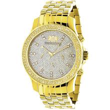 Luxurman Mens Diamond Watch 0.25ct Yellow Gold Tone
