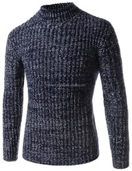 LATEST DESIGN MEN'S CASUAL SLIM FIT MOCK NECK COLORFUL KNITTED LONG SLEEVE SWEATER SHIRTS