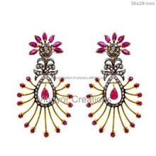Hot New Fashion Women Design Ruby Gemstone Earring, 925 Sterling Silver Jewelry Earring, Wholesale 14k Gold Jewelry Supplier