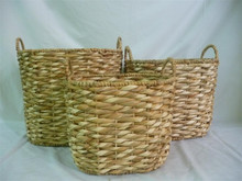 Best sell 2015, Oval Water hyacinth storage basket, new wicker basket design, bamboo basket, made in Vietnam set of 3