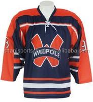 Designs custom lace neck sublimation ice hockey shirt