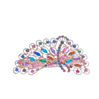 Zinc Alloy Hair Barrette with Crystal Peaco rose gold color plated faceted & with rhinestone mixed colors nick lead & d free 95x