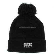 Cuff beanie hat with custom embroidery logo cheap blank knit beanie caps