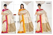 Silk in Half white color with Rich zari border Plane South Twist Art Silk Designer Sarees