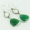 Ocean Breeze !! Green Onyx_Crystal 925 Sterling Silver Earring, 925 Sterling Silver Jewelry Manufacturer, Silver Jewelry