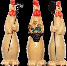 Set of three ceramic animals. Gardening chickens and sheeps, no see- no hear- no say chicken and rabbits