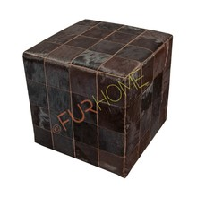 LEATHER COWHIDE CUBE COVER PUFF dark BROWN