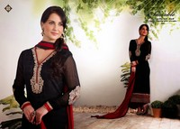 Designer pretty glamour black & maroon with full sleeves crystal brasso straight long cut party wear embroidered salwar suit