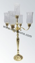 A Very Beautiful Gold Hurricane Candelabra For Decoration Event And Party