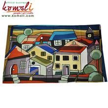 Buildings on Street - handmad wool rugs india - modern design color wool rug - custom rug available