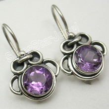 925 Solid Silver Beautiful AMETHYST Oxidized Nice Dangle Earrings 7/8 inches NEW