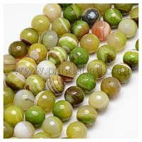 Natural Striped Agate Beads Strands, Faceted, Dyed, Round, GreenYellow, 12mm, Hole: 1.2mm G-G581-12mm-16