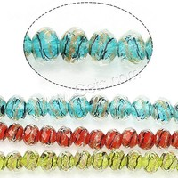 Faceted Lampwork Beads Drum different size for choice & gold sand more colors for choice Sold By Strand