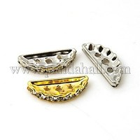 Mixed Color 3 Holes Brass Middle East Rhinestone Bridge Spacers, Nickel Free, 19x7x3mm, Hole: 1.2mm