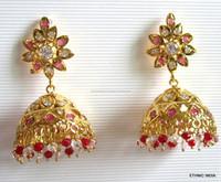 JADAU GOLD PLATED Dangler JHUMKA TEMPLE EARRINGS real look