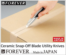 Plastic film cutter, ceramic blade, snap-off segments, non-corrosive, stays sharp, also for hobby and crafts, made in Japan