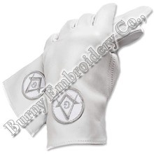Masonic Regalia Hands Embroidery Leather Gloves