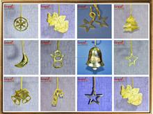 Brass metal golden handmade christmas decoration custom christmas flat ornaments latest christmas tree ornament